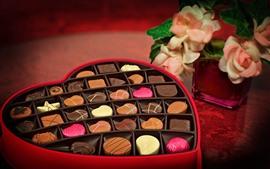 Amor coração, chocolate doce, presente, romântico, flores