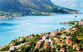Черногория, Котор, море, залив, корабль, город, дома
