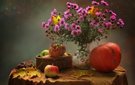 Flores cor-de-rosa, maçãs, abóbora, vaso, ainda vida
