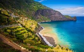 Portugal, Madeira, montanhas, praia, mar, costa, estrada