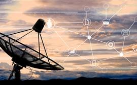 Telescopio de radio, antena, digital, imagen creativa.
