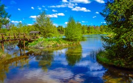 Река, деревья, беседка, мост, голубое небо, лето
