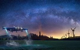 Aperçu fond d'écran Vaisseau spatial, étoiles, arbres, montagnes, nuit, image créative