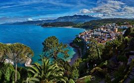 スペイン、海、都市、海岸、木、雲、美しい