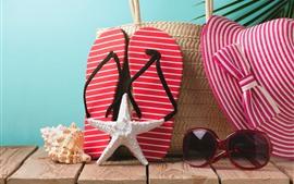 Estrela do mar, flip flops, óculos de sol, chapéu, ainda vida
