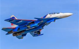 Preview wallpaper Su-30 multirole fighter, blue, sky