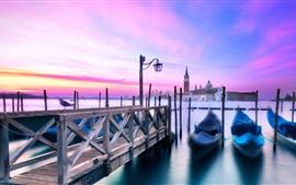 Венеция, гондола, лодки, река, закат, Италия