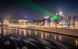 Вильнюс, Литва, Деревья, Ночь, Снег, Дома, Свет