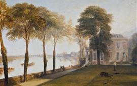 Уильям Тернер, раннее летнее утро, деревья, река, живопись