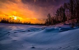 Preview wallpaper Winter, snow, trees, slope, sunset, dusk