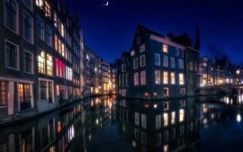 壁紙のプレビュー アムステルダム、オランダ、住宅、ライト、川、夜