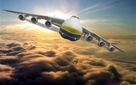 Vorschau des Hintergrundbilder Antonov An-225 Flugzeugflug im Himmel, Vorderansicht, Wolken