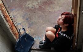 Preview wallpaper Asian girl, school girl, sit, door