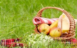 Корзина, яблоки, банановые, сыр, трава, цветы