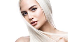 Menina loira, estilo de cabelo, rosto, olhos, olhar