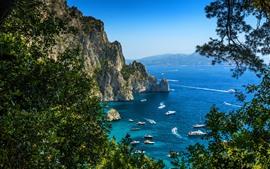 Aperçu fond d'écran Mer bleue, côte, voilier, bateau, arbres, rochers