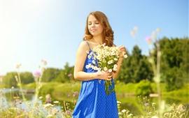 Preview wallpaper Blue skirt girl, flowers, sunshine, summer
