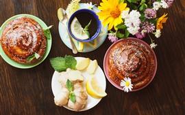Завтрак, хлеб, чай, цветы, ломтик лимона