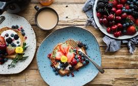 Preview wallpaper Breakfast, sandwiches, strawberry, cherry, blackberry, coffee