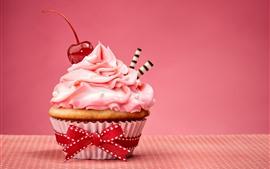 Preview wallpaper Cake, dessert, cream, cherry, delicious