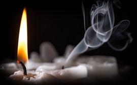 Свеча, огонь, пламя, дым