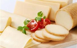Aperçu fond d'écran Tranche de fromage, tomates, nourriture