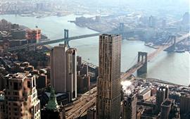 Chicago, Puente Manhattan, Rascacielos, Río, Ciudad, EE.UU.