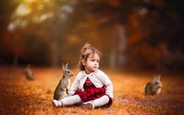 Aperçu fond d'écran Mignonne petite fille, enfant, lapin