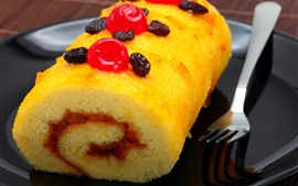 Preview wallpaper Dessert, cake roll, fork, food
