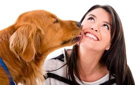 Собака и девушка, счастлива, улыбка