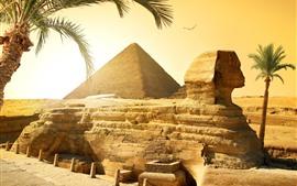 Vorschau des Hintergrundbilder Ägypten, Kairo, Sphinx, Pyramide, Wüste, Palmen