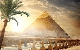 Egito, pirâmide, cerca, árvores