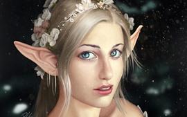 预览壁纸 幻想女孩,耳朵,精灵,眼睛,看,花
