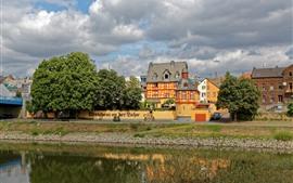 Германия, Лахнштейн, река, дома, город