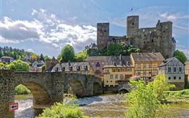Alemanha, fortaleza, rio, ponte, casas