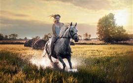 Preview wallpaper Girl ride horse, happy, grass, water splash