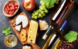 Grapes, apple, wine, cheese, food