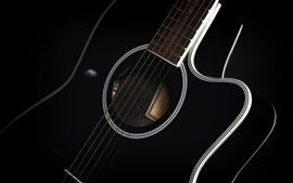 Vorschau des Hintergrundbilder Gitarren-Makrofotografie, Musik-Thema, schwarzer Hintergrund