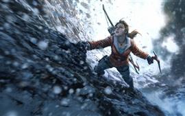 Lara Croft, Tomb Raider, Subida, Nieve, Invierno