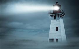 Preview wallpaper Lighthouse, light, fog, night