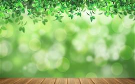 Aperçu fond d'écran Beaucoup de feuilles vertes, de cercles de lumière, de bois
