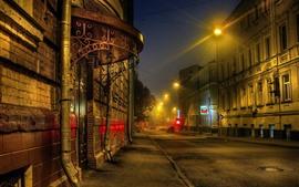Moscou, noite, estrada, casas, luzes, Rússia