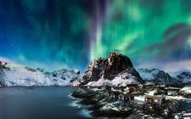 Северное сияние, горы, снег, море, зима, дома, ночь, Норвегия