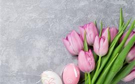 Aperçu fond d'écran Tulipes roses, gouttelettes d'eau, œufs de Pâques