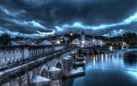 포르투갈, 산타 렘, 다리, 강, 주택, 조명, 구름, 폭풍