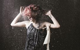 预览壁纸 红发女孩,瞬间,粉末飞溅