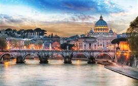 预览壁纸 罗马,宫殿,桥梁,河流,灯光,黄昏,大教堂