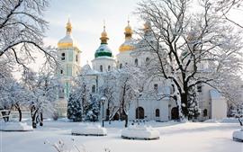 壁紙のプレビュー 聖ソフィア大聖堂、ウクライナ、木、冬、雪