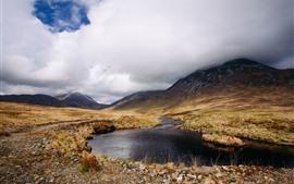 Шотландия, озеро, облака, горы