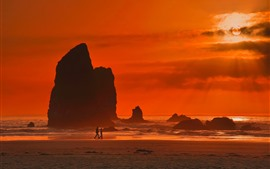 Море, скалы, силуэт, облака, закат, красное небо